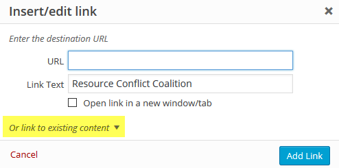 page editor - link to existing content button