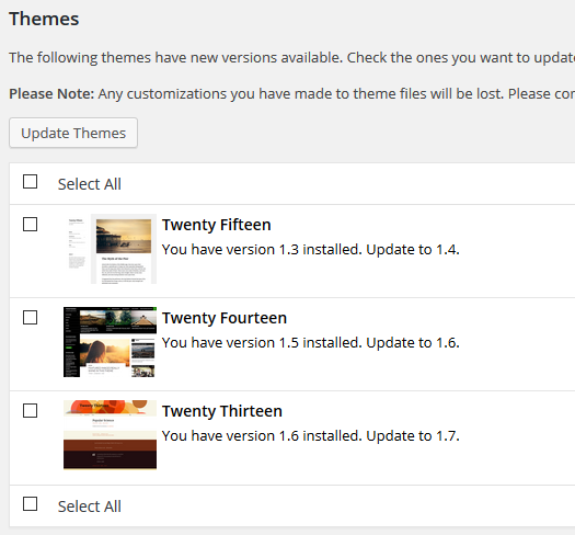 updates - themes