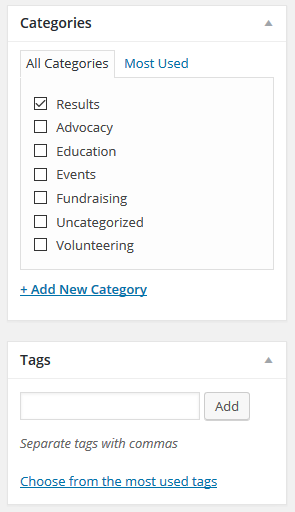 post editor - categories and tags